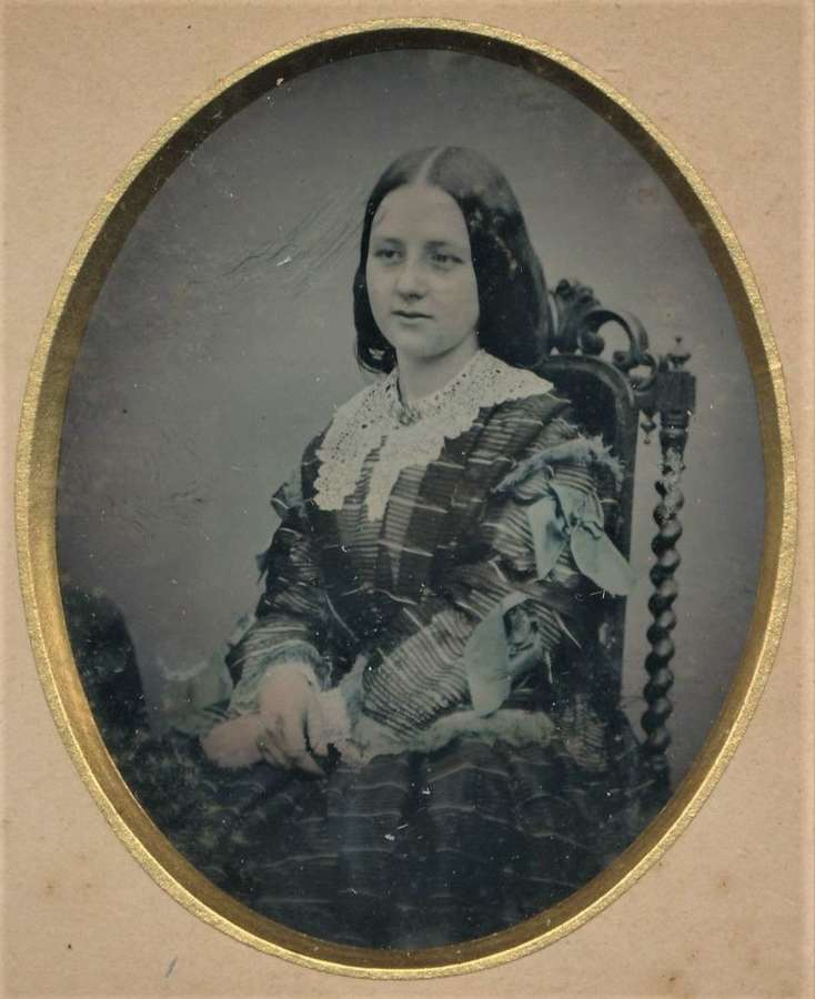 1/9 plate Hand Tinted Ambrotype of A Beautiful Young Girl C1865
