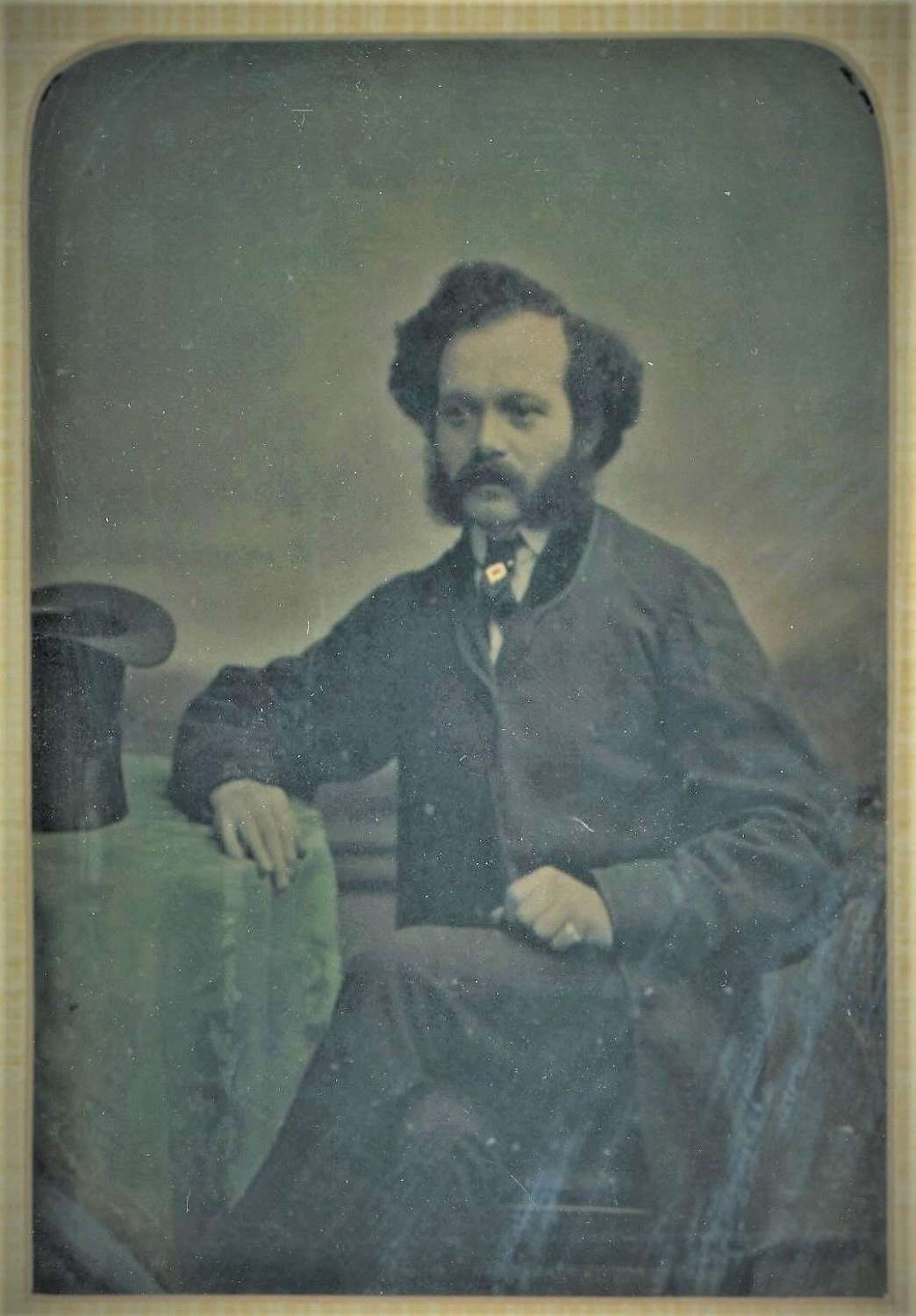1/4 Plate Hand Tinted  Ambrotype of A  Gentleman  C1860
