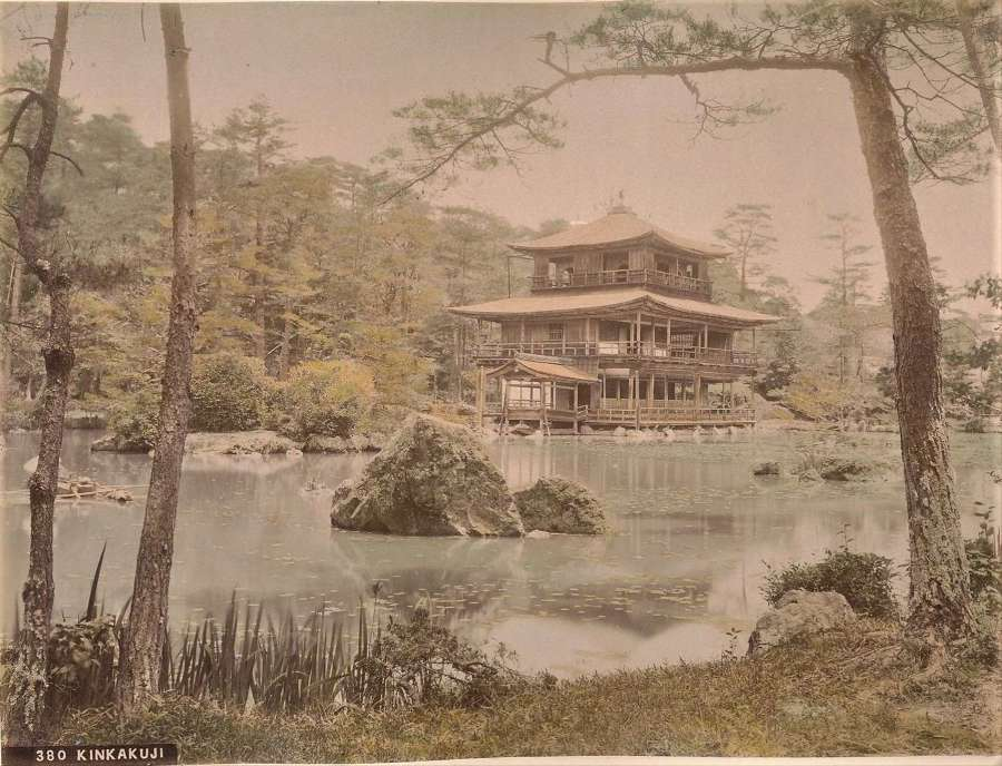 Hand Coloured Photokinkakuji Temple KyotoJapanC1880