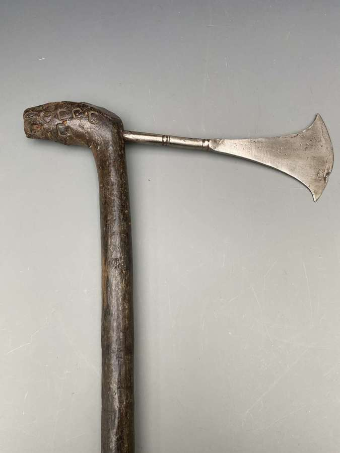 Congo Axe with a Polished iron blade and stained wood handle