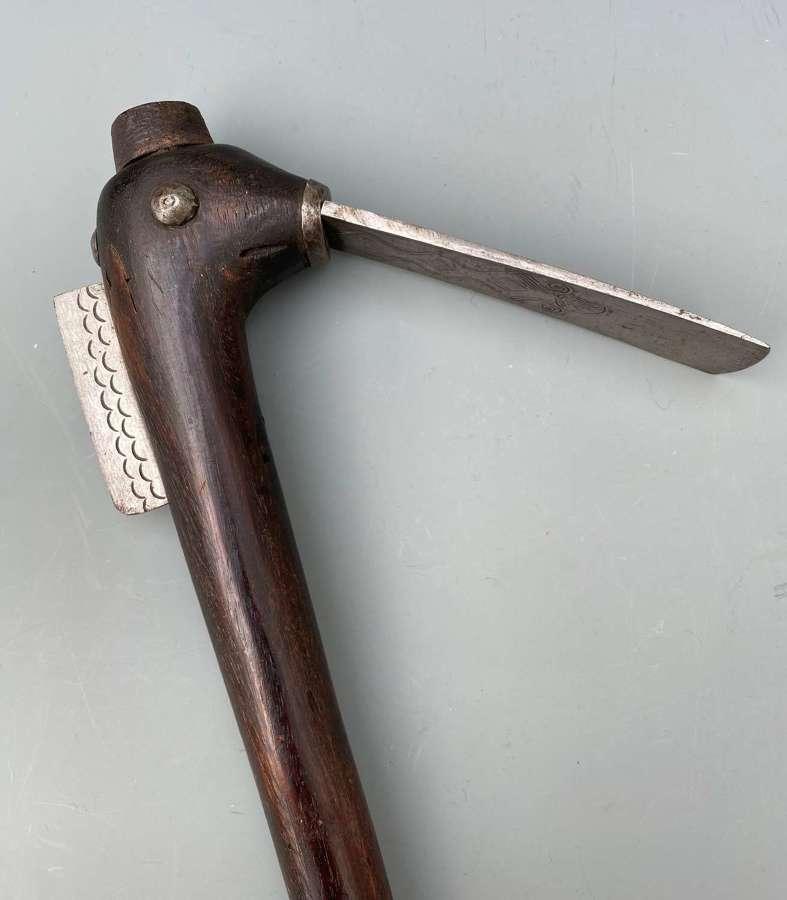 A Dahomey Axe Benin with an Engraved Iron Blades
