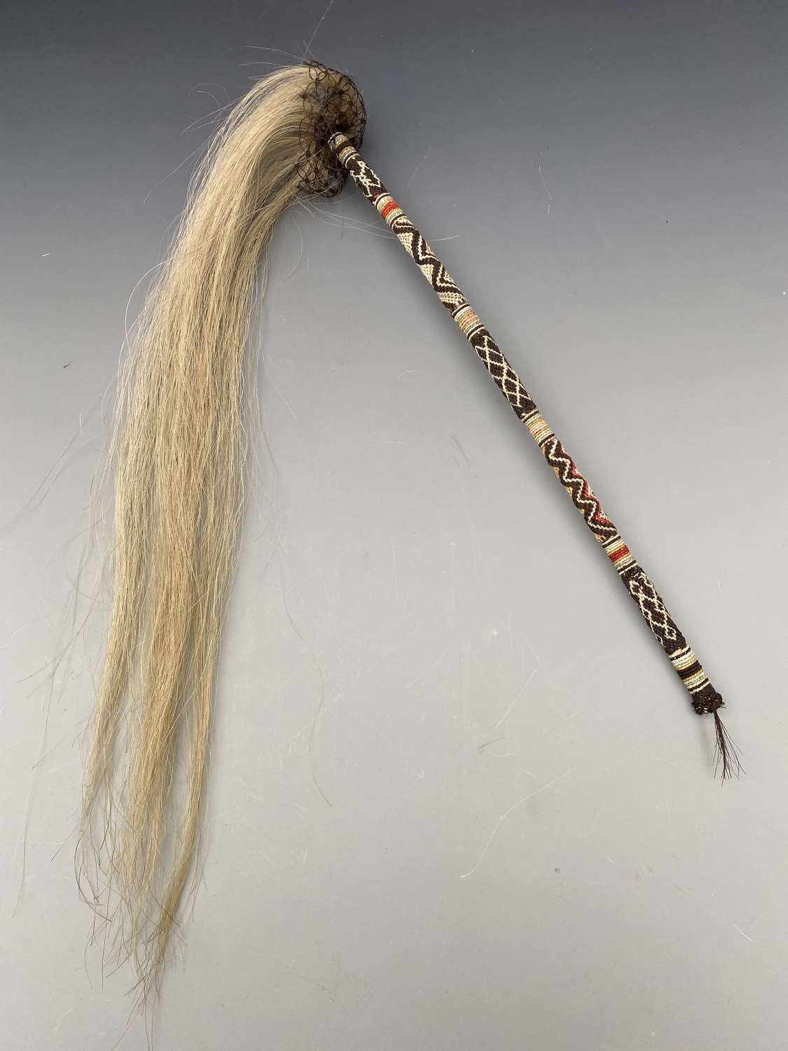 South African Fly Whisk dyed and natural animal hair