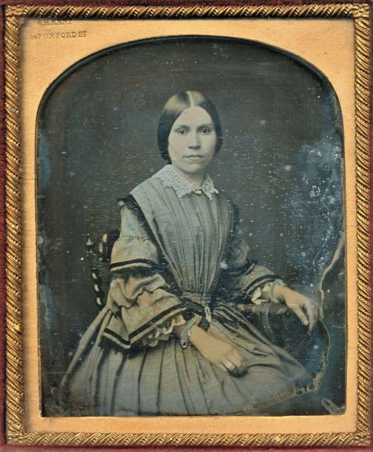 Hand Tinted 1/6 Plate Daguerreotype of a Beautiful Lady C1850