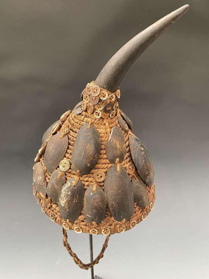 Lega Bwami Hatwith Horn& Shell Congo